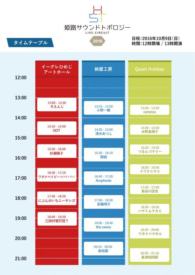姫路サウンドトポロジー2016-タイムテーブル