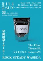 ROCK STEADY WASEDA、早稲田祭2018でライブイベント『HARUHARU』を開催。The Floor、Tigermilk、ヤナセジロウ(betcover!!)が出演